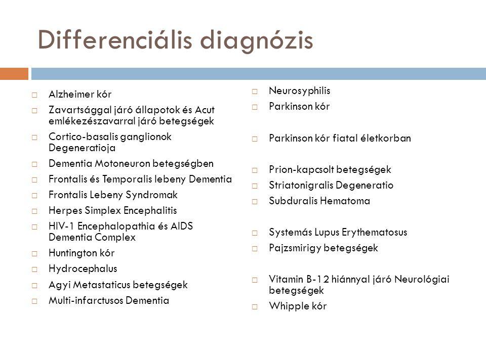 Differenciális diagnózis  Alzheimer kór  Zavartsággal járó állapotok és Acut emlékezészavarral járó betegségek  Cortico-basalis ganglionok Degeneratioja  Dementia Motoneuron betegségben  Frontalis és Temporalis lebeny Dementia  Frontalis Lebeny Syndromak  Herpes Simplex Encephalitis  HIV-1 Encephalopathia és AIDS Dementia Complex  Huntington kór  Hydrocephalus  Agyi Metastaticus betegségek  Multi-infarctusos Dementia  Neurosyphilis  Parkinson kór  Parkinson kór fiatal életkorban  Prion-kapcsolt betegségek  Striatonigralis Degeneratio  Subduralis Hematoma  Systemás Lupus Erythematosus  Pajzsmirigy betegségek  Vitamin B-12 hiánnyal járó Neurológiai betegségek  Whipple kór