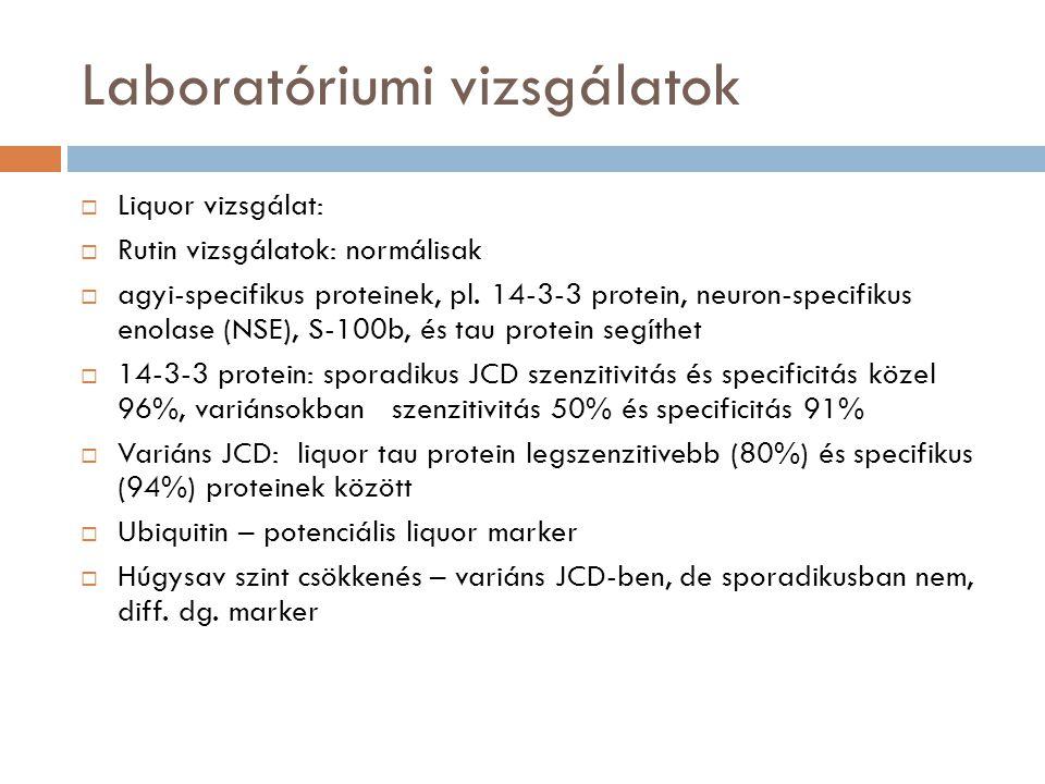 Laboratóriumi vizsgálatok  Liquor vizsgálat:  Rutin vizsgálatok: normálisak  agyi-specifikus proteinek, pl. 14-3-3 protein, neuron-specifikus enola