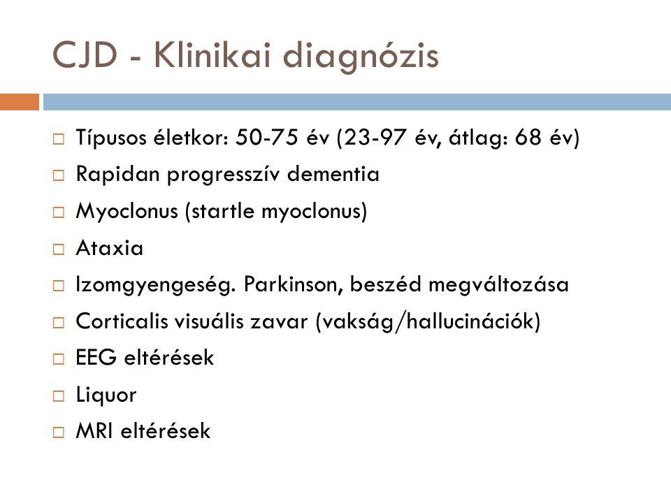 CJD - Klinikai diagnózis  Típusos életkor: 50-75 év (23-97 év, átlag: 68 év)  Rapidan progresszív dementia  Myoclonus (startle myoclonus)  Ataxia  Izomgyengeség.