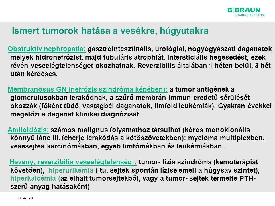 sl   Page8 Ismert tumorok hatása a vesékre, húgyutakra Obstruktív nephropatia: gasztrointesztinális, urológiai, nőgyógyászati daganatok melyek hidrone