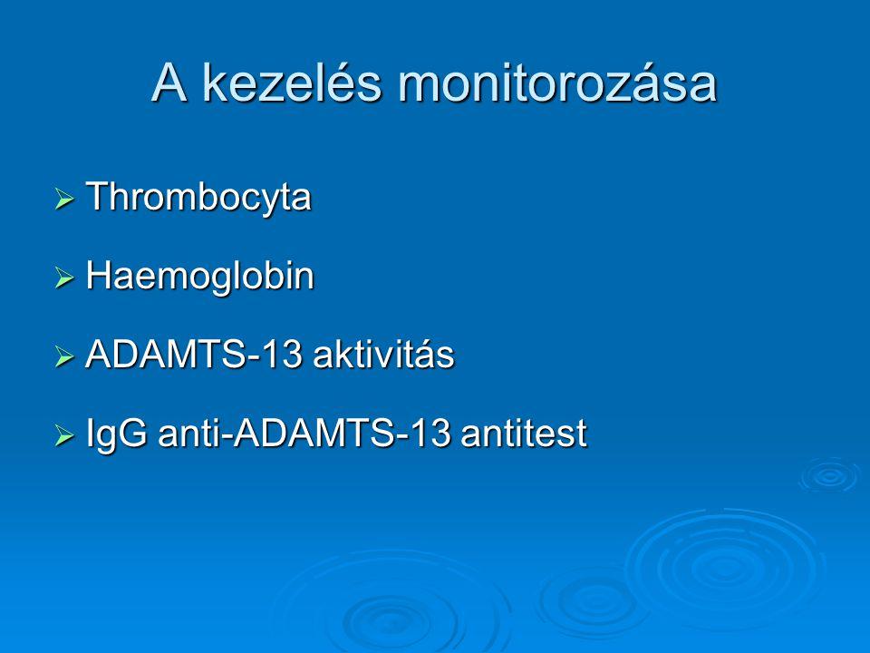 A kezelés monitorozása  Thrombocyta  Haemoglobin  ADAMTS-13 aktivitás  IgG anti-ADAMTS-13 antitest