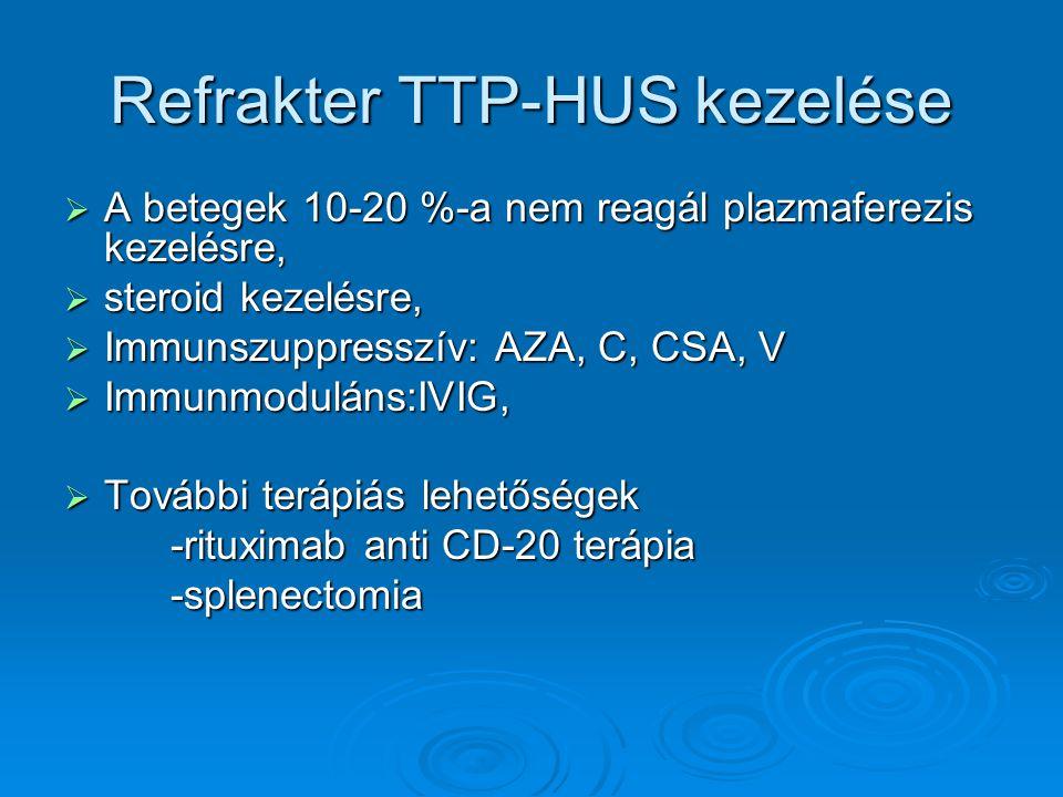 Refrakter TTP-HUS kezelése  A betegek 10-20 %-a nem reagál plazmaferezis kezelésre,  steroid kezelésre,  Immunszuppresszív: AZA, C, CSA, V  Immunm