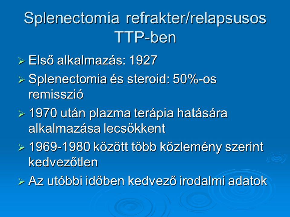 Splenectomia refrakter/relapsusos TTP-ben  Első alkalmazás: 1927  Splenectomia és steroid: 50%-os remisszió  1970 után plazma terápia hatására alka