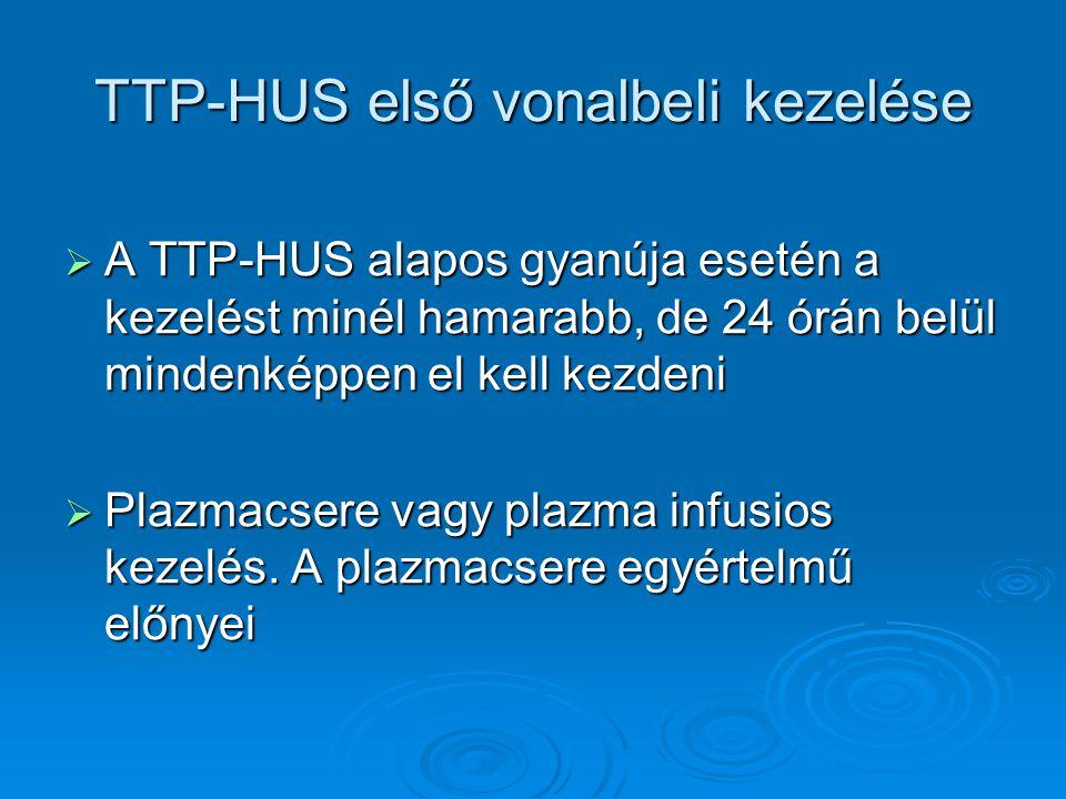 TTP-HUS első vonalbeli kezelése  A TTP-HUS alapos gyanúja esetén a kezelést minél hamarabb, de 24 órán belül mindenképpen el kell kezdeni  Plazmacse