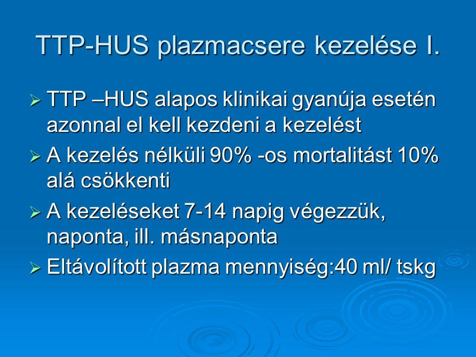 TTP-HUS plazmacsere kezelése I.  TTP –HUS alapos klinikai gyanúja esetén azonnal el kell kezdeni a kezelést  A kezelés nélküli 90% -os mortalitást 1