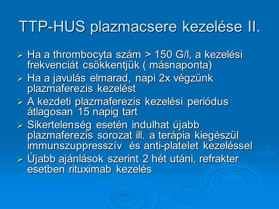 A plazmacsere kezelés hatásmechanizmusai  Autoantitestek eltávolítása (anti-ADAMTS- 13, anti-CFH)  Endothelt aktiváló citokinek eltávolítása  Complement aktivációs regulátorok szintjének emelése (MCP, CFH, IF)  A célszerv károsodás kapcsán megemelkedő káros anyagok eliminálása