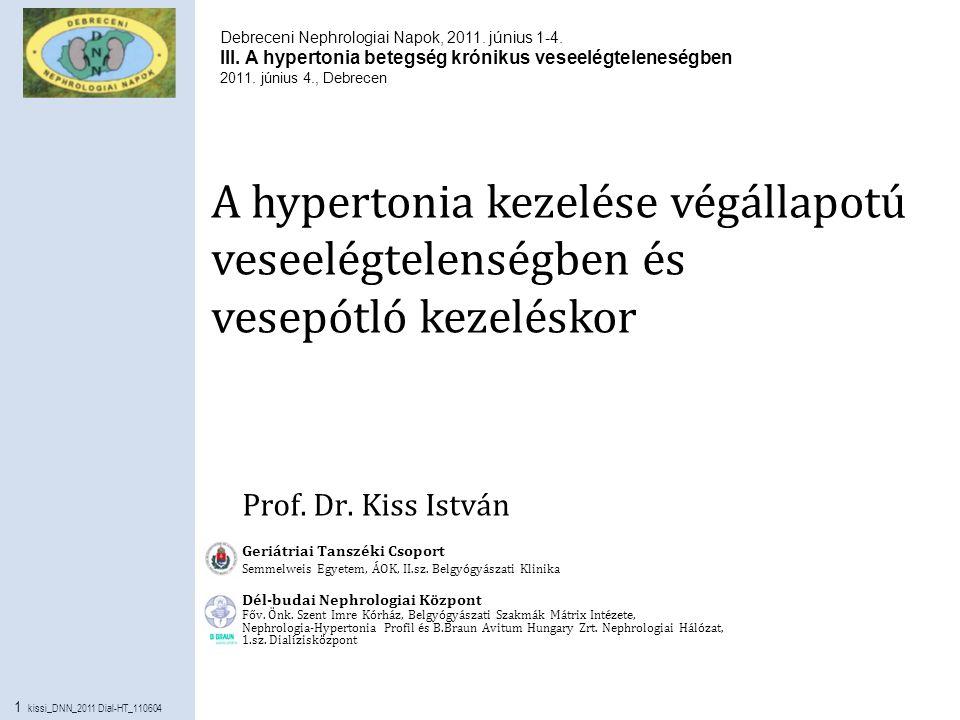 12 kissi_DNN_2011 Dial-HT_110604 Az antihypertenzív gyógyszerek és kombinációjuk választhatósága dializált betegekben Kacsdiuretikum ACE-gátló, ARB Kalciumantagonista Béta blokkoló (nebivolol, carvedilol) Centrális hatású Perif.