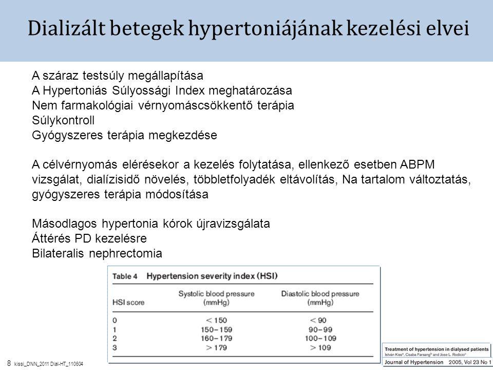 8 kissi_DNN_2011 Dial-HT_110604 Dializált betegek hypertoniájának kezelési elvei A száraz testsúly megállapítása A Hypertoniás Súlyossági Index meghatározása Nem farmakológiai vérnyomáscsökkentő terápia Súlykontroll Gyógyszeres terápia megkezdése A célvérnyomás elérésekor a kezelés folytatása, ellenkező esetben ABPM vizsgálat, dialízisidő növelés, többletfolyadék eltávolítás, Na tartalom változtatás, gyógyszeres terápia módosítása Másodlagos hypertonia kórok újravizsgálata Áttérés PD kezelésre Bilateralis nephrectomia