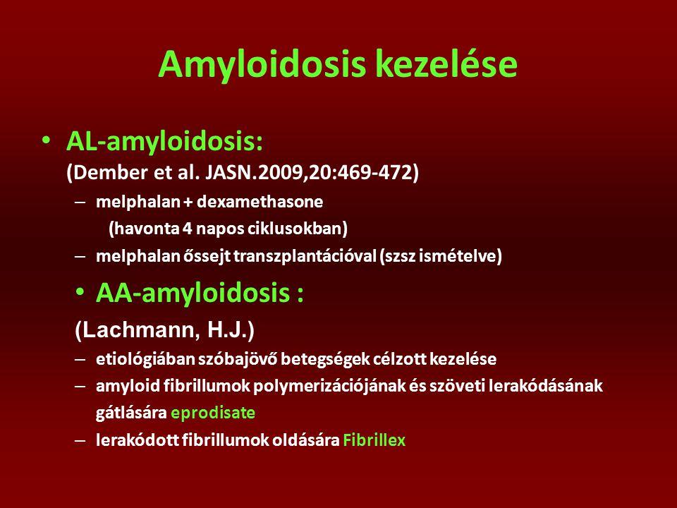 Amyloidosis kezelése AL-amyloidosis: (Dember et al. JASN.2009,20:469-472) – melphalan + dexamethasone (havonta 4 napos ciklusokban) – melphalan őssejt