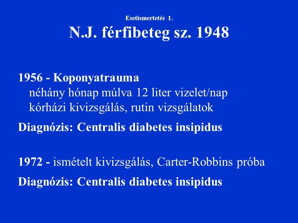 Esetismertetés 1. N.J. férfibeteg sz. 1948 1956 - Koponyatrauma néhány hónap múlva 12 liter vizelet/nap kórházi kivizsgálás, rutin vizsgálatok Diagnóz