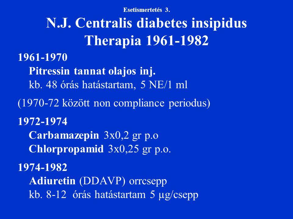 Esetismertetés 3. N.J. Centralis diabetes insipidus Therapia 1961-1982 1961-1970 Pitressin tannat olajos inj. kb. 48 órás hatástartam, 5 NE/1 ml (1970