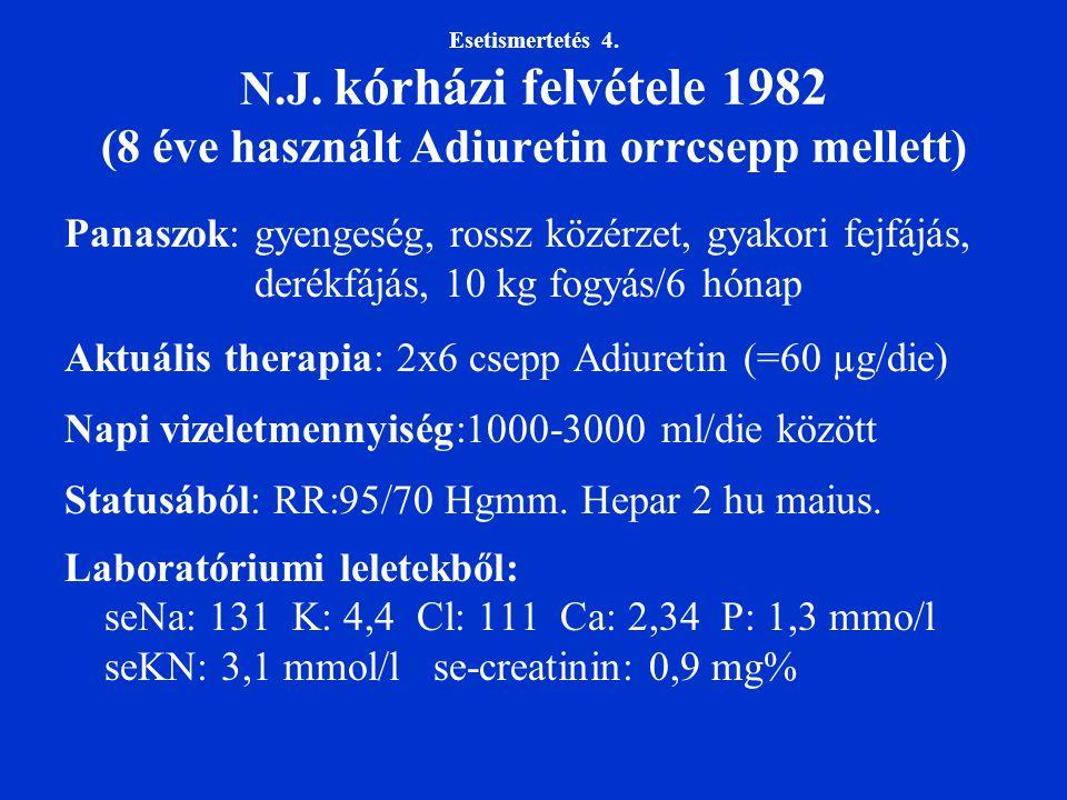 Esetismertetés 4. N.J. kórházi felvétele 1982 (8 éve használt Adiuretin orrcsepp mellett) Panaszok: gyengeség, rossz közérzet, gyakori fejfájás, derék