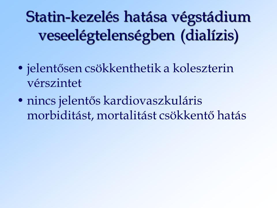 Statin-kezelés hatása végstádium veseelégtelenségben (dialízis) jelentősen csökkenthetik a koleszterin vérszintet nincs jelentős kardiovaszkuláris mor