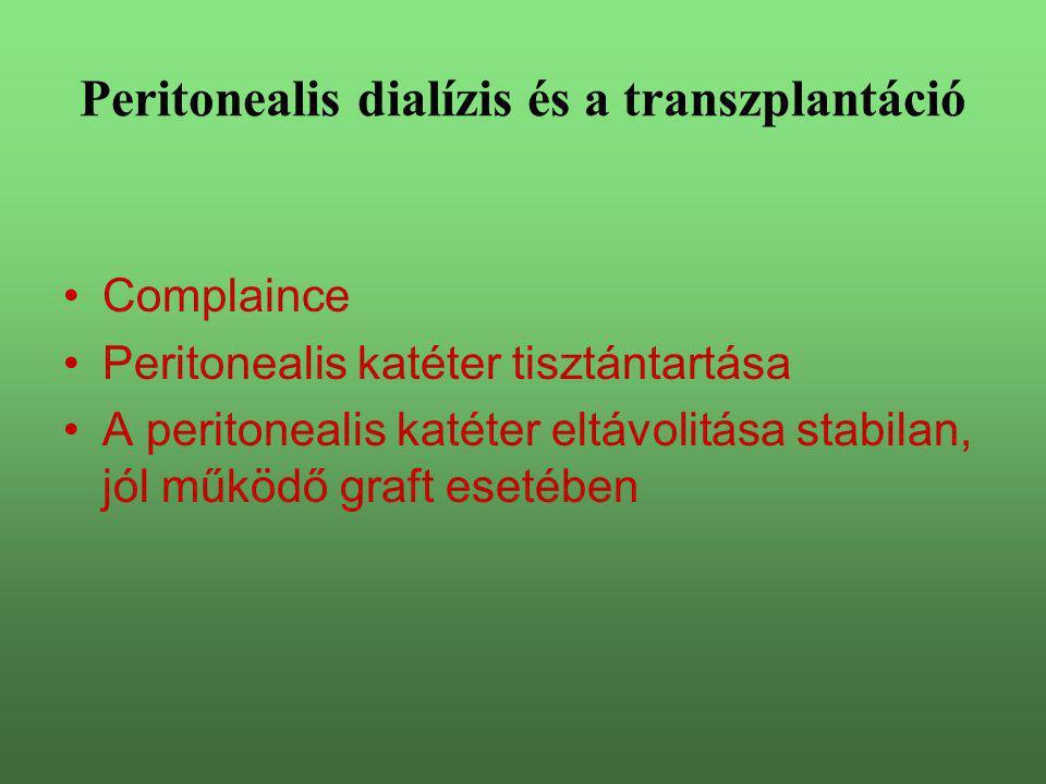 Complaince Peritonealis katéter tisztántartása A peritonealis katéter eltávolitása stabilan, jól működő graft esetében Peritonealis dialízis és a tran