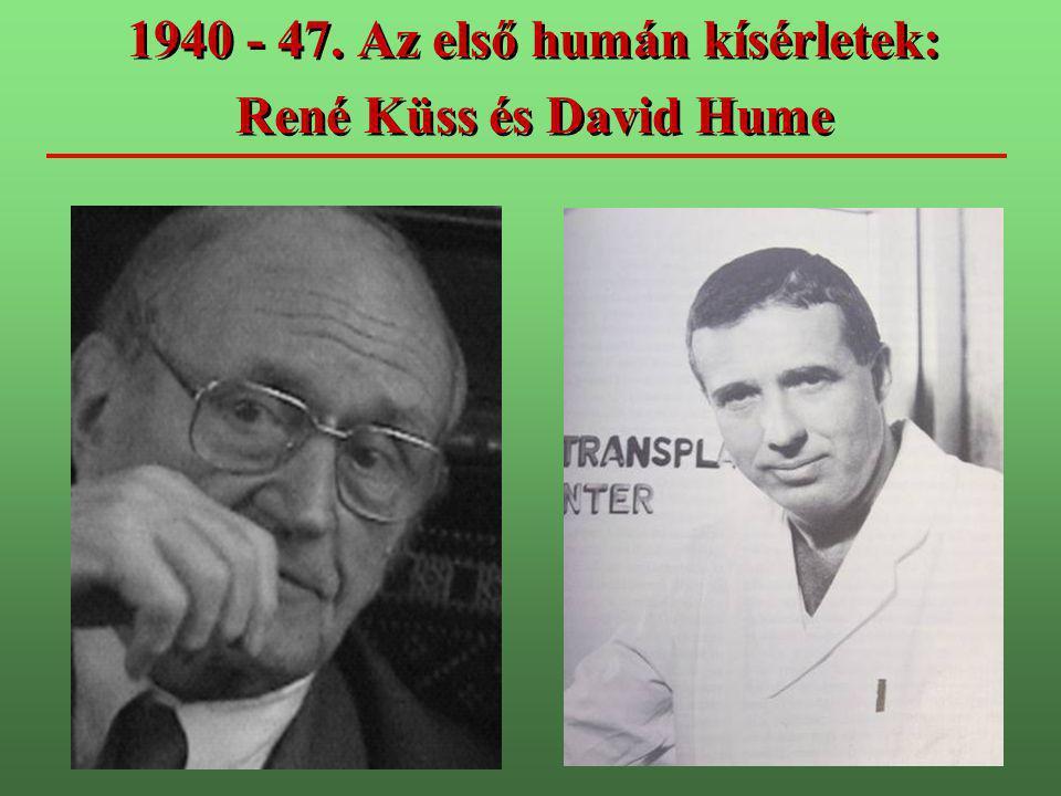 1940 - 47. Az első humán kísérletek: René Küss és David Hume 1940 - 47. Az első humán kísérletek: René Küss és David Hume