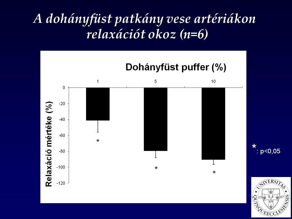 * : p<0,05 NS A dohányfüst patkány vese artériákon relaxációt okoz (n=6) relaxációt okoz (n=6)