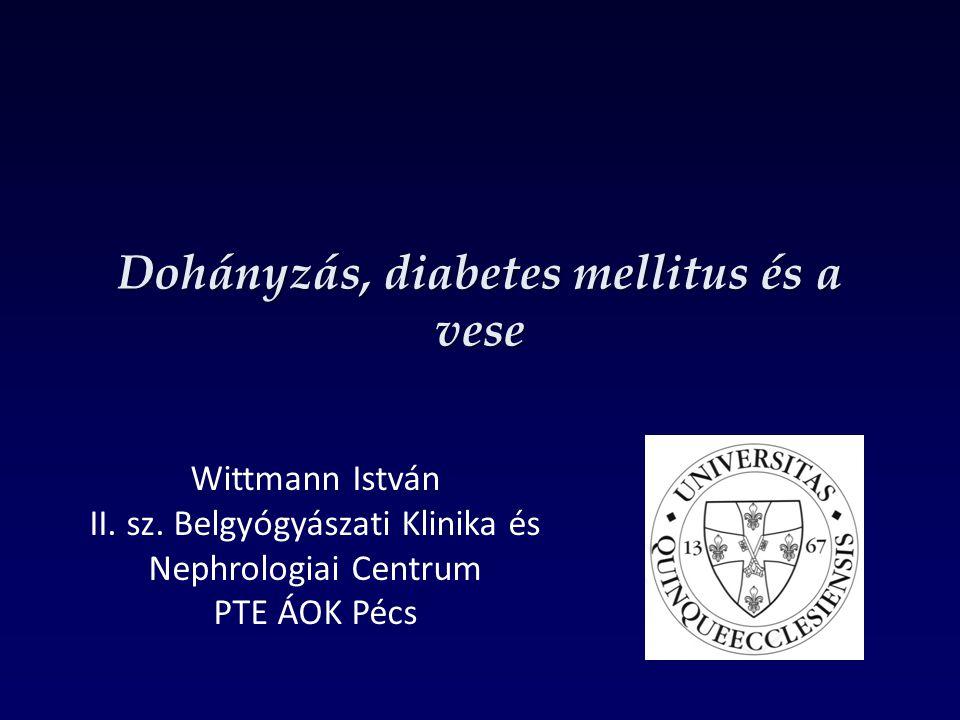 A dohányzás és a 2-es a típusú diabetes mellitus kockázata dózisfüggő Relatív rizikó Diabet Med 1999, 16, 951-955 Cigaretta csomag-év Am J Med 2000, 109, 538-542 Csomag-év = 1 éven keresztül minden nap 20 szál cigaretta