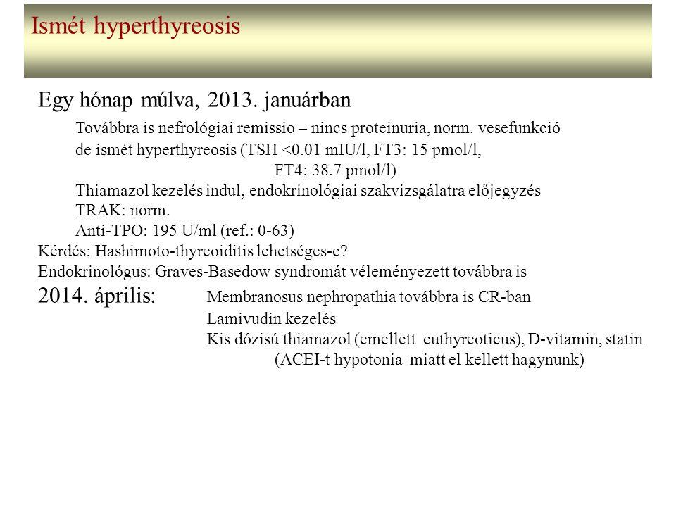 Ismét hyperthyreosis Egy hónap múlva, 2013. januárban Továbbra is nefrológiai remissio – nincs proteinuria, norm. vesefunkció de ismét hyperthyreosis