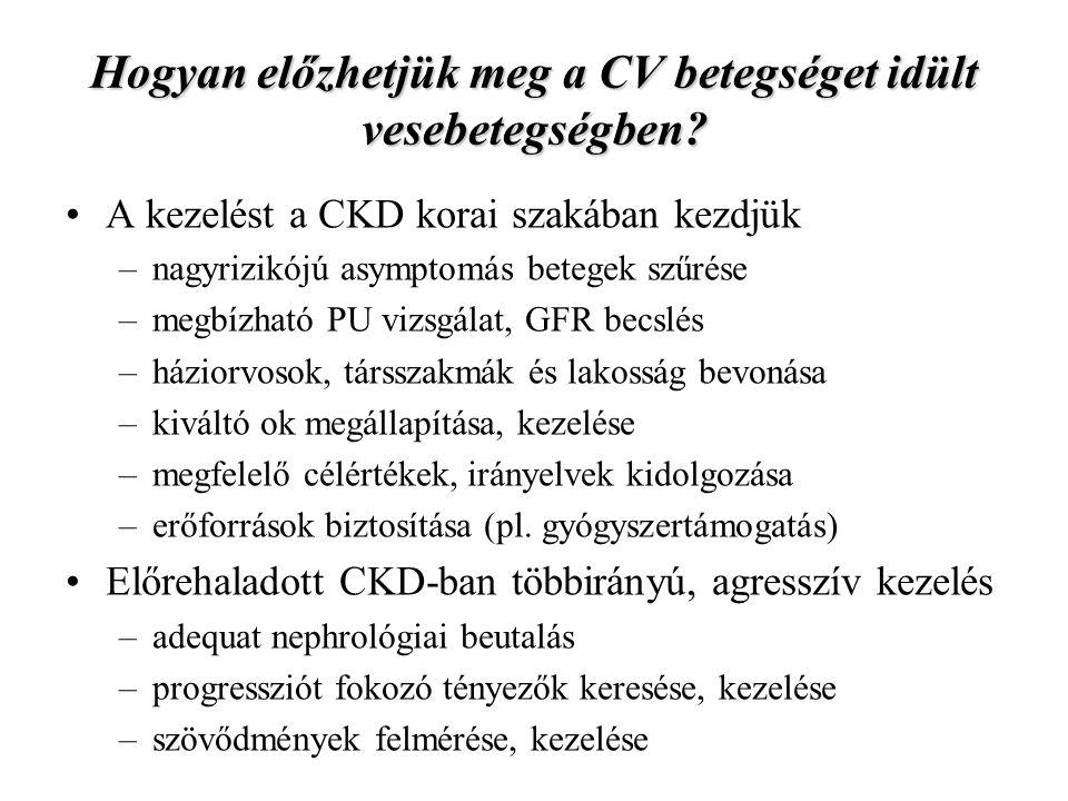 Hogyan előzhetjük meg a CV betegséget idült vesebetegségben.