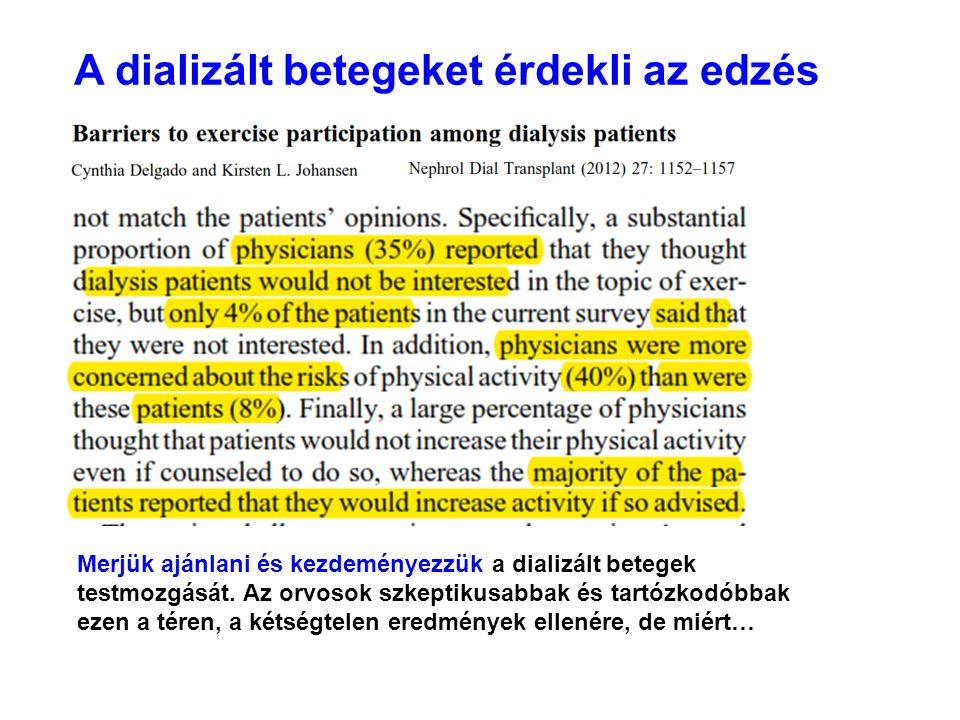 A dializált betegeket érdekli az edzés Merjük ajánlani és kezdeményezzük a dializált betegek testmozgását. Az orvosok szkeptikusabbak és tartózkodóbba