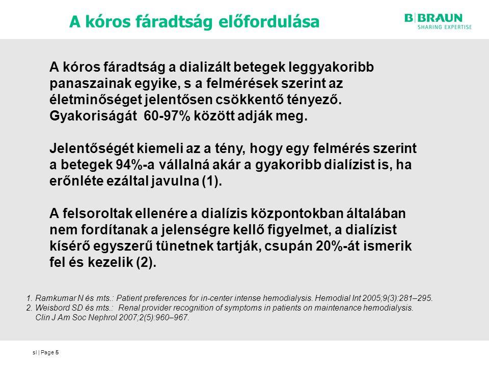 sl | Page5 A kóros fáradtság előfordulása 5 A kóros fáradtság a dializált betegek leggyakoribb panaszainak egyike, s a felmérések szerint az életminőséget jelentősen csökkentő tényező.