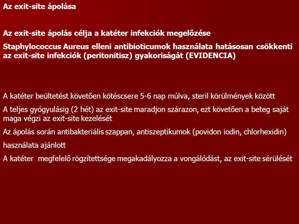 Az exit-site infekció antibiotikus prevenciója (Staphylococcus aureus, Pseudomonas aeruginosa) Exit-site mupirocin Naponta, minden beteg esetében Naponta, de csak S.aureus pozitív orrnyálkahártya tenyésztés esetén Csak az exit-site S.aureus pozitív tenyésztése esetén Orrnyálkahártya mupirocin kezelése naponta 2 alkalommal, 5-7 napig Havonta egy alkalommal, ha a beteg már S.aureus hordozó volt Csak aktuálisan pozitív kultúra esetén Exit site gentamycin krém, vagy ciprofloxacin oldat naponta Az antibiotikus prevenció és módjának megválasztása az egyes centrumok bakteriális exit-site infekció helyzetének elemzésén alapul.