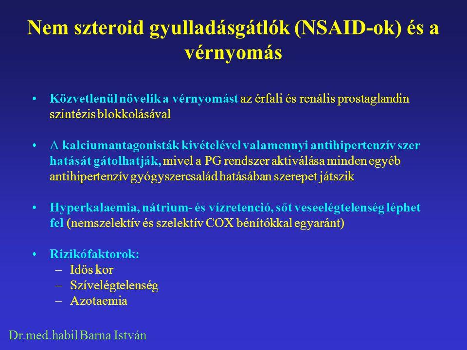 Dr.med.habil Barna István Nem szteroid gyulladásgátlók (NSAID-ok) és a vérnyomás Közvetlenül növelik a vérnyomást az érfali és renális prostaglandin s
