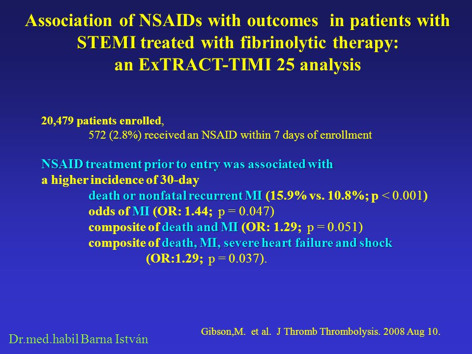 Dr.med.habil Barna István patients with STEMI Association of NSAIDs with outcomes in patients with STEMI treated with fibrinolytic therapy: an ExTRACT