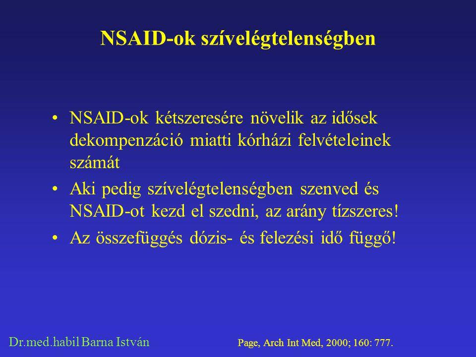Dr.med.habil Barna István NSAID-ok szívelégtelenségben NSAID-ok kétszeresére növelik az idősek dekompenzáció miatti kórházi felvételeinek számát Aki p