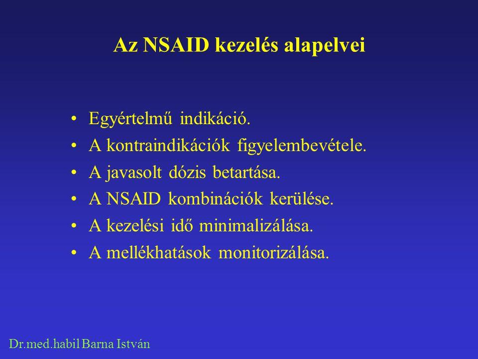 Dr.med.habil Barna István Az NSAID kezelés alapelvei Egyértelmű indikáció. A kontraindikációk figyelembevétele. A javasolt dózis betartása. A NSAID ko