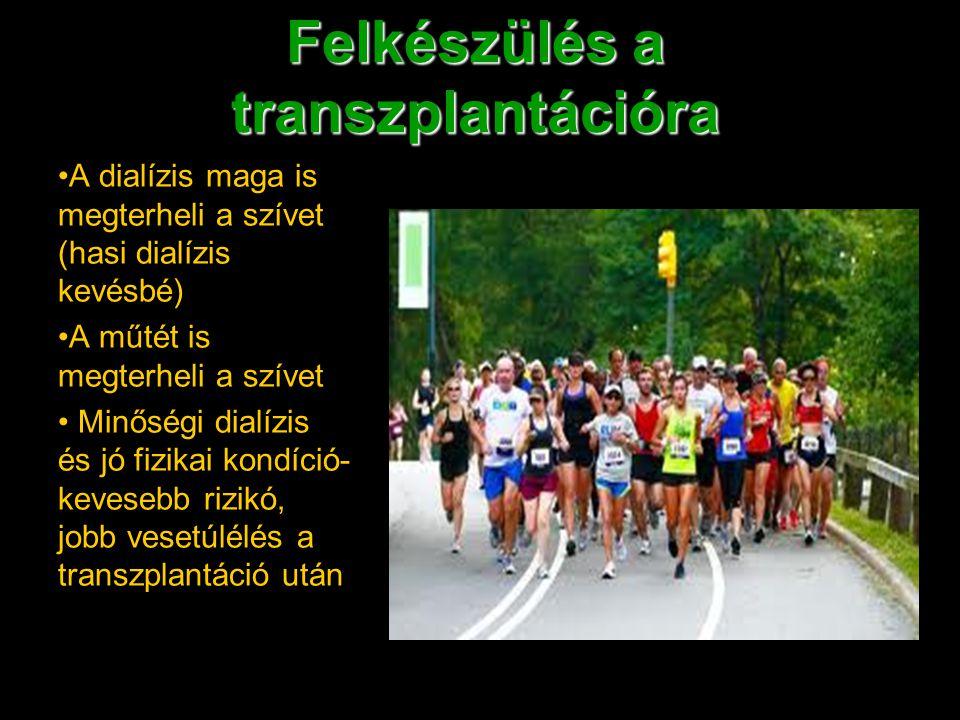 Felkészülés a transzplantációra A dialízis maga is megterheli a szívet (hasi dialízis kevésbé) A műtét is megterheli a szívet Minőségi dialízis és jó