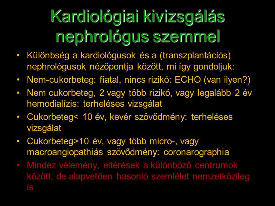 Kardiológiai kivizsgálás nephrológus szemmel Különbség a kardiológusok és a (transzplantációs) nephrológusok nézőpontja között, mi így gondoljuk: Nem-