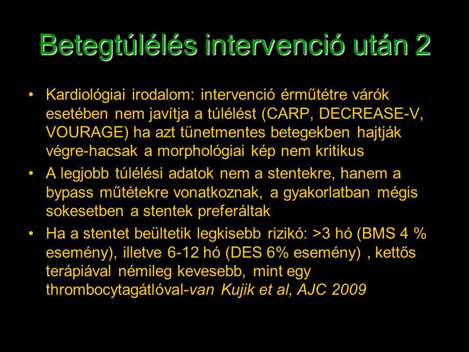 Betegtúlélés intervenció után 2 Kardiológiai irodalom: intervenció érműtétre várók esetében nem javítja a túlélést (CARP, DECREASE-V, VOURAGE) ha azt