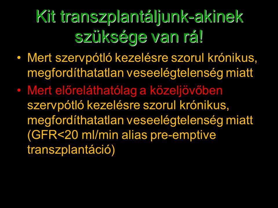Kit transzplantáljunk-akinek szüksége van rá! Mert szervpótló kezelésre szorul krónikus, megfordíthatatlan veseelégtelenség miatt Mert előreláthatólag