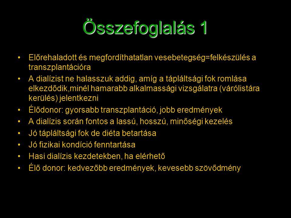 Összefoglalás 1 Előrehaladott és megfordíthatatlan vesebetegség=felkészülés a transzplantációra A dialízist ne halasszuk addig, amíg a tápláltsági fok