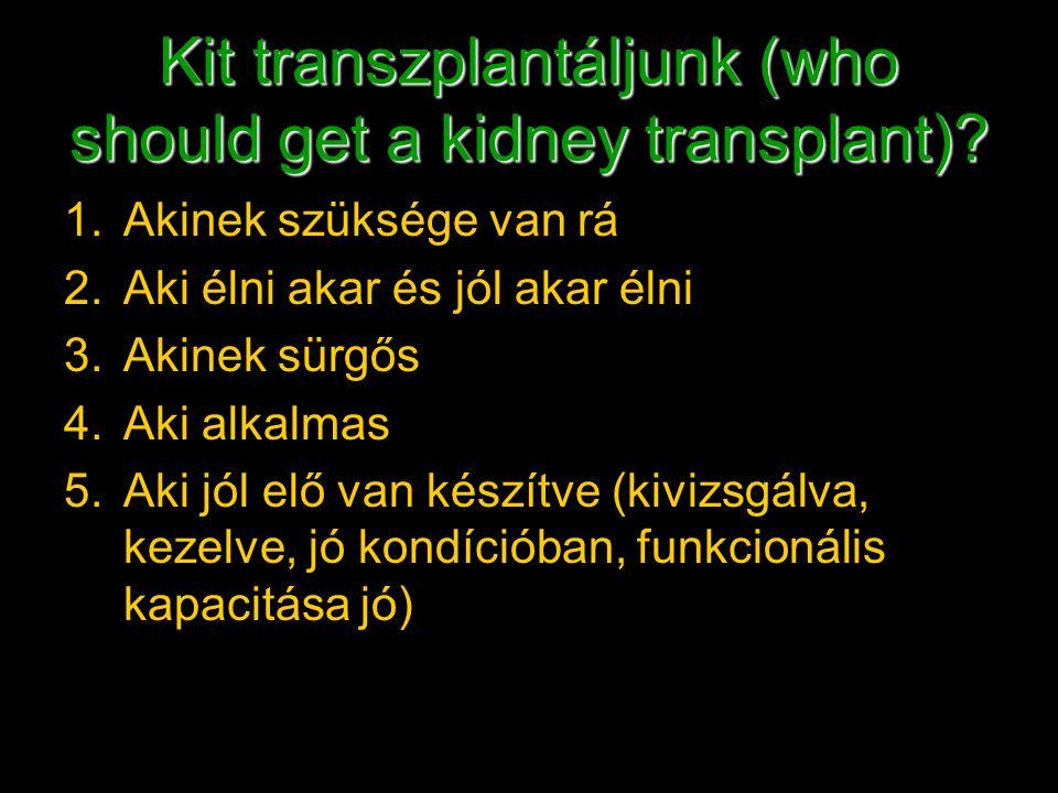 Kit transzplantáljunk (who should get a kidney transplant)? 1.Akinek szüksége van rá 2.Aki élni akar és jól akar élni 3.Akinek sürgős 4.Aki alkalmas 5