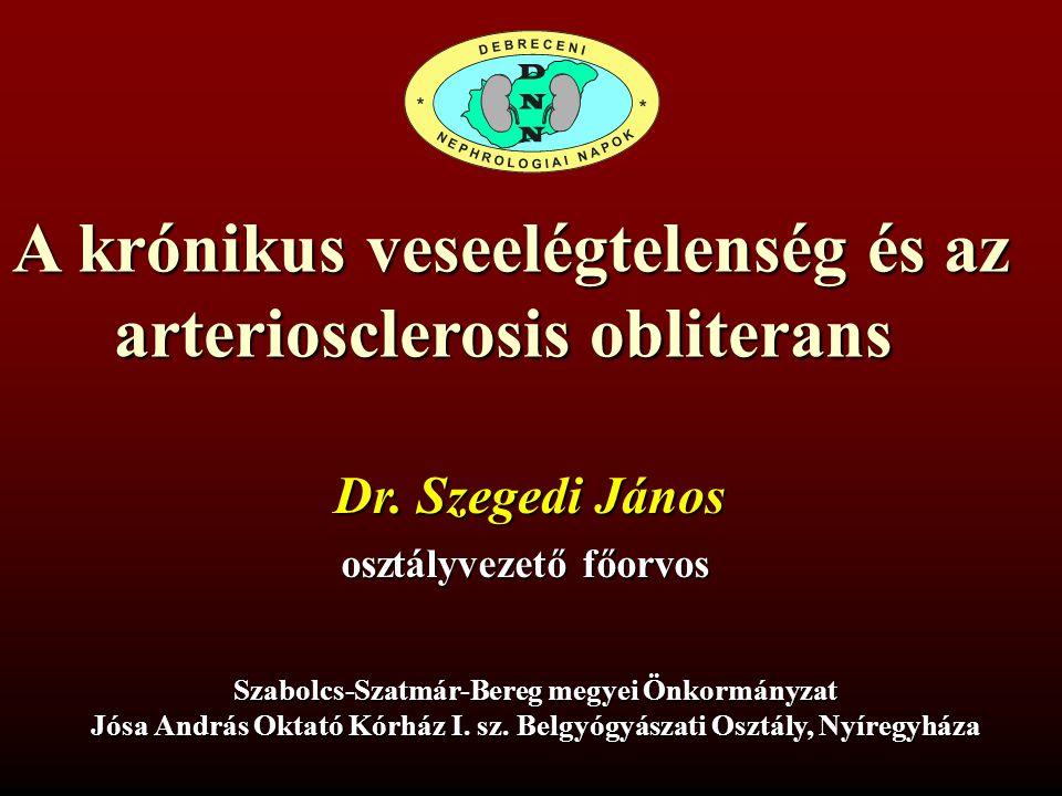 Vesebetegség, veseelégtelenség és az atherosclerosis kapcsolata Az atherosclerosis rontja a veseműködést (GFR csökken) A veseelégtelenség növeli az atherosclerosis rizikóját