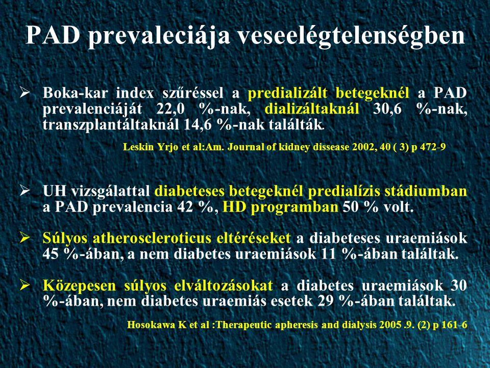 PAD prevaleciája veseelégtelenségben  Boka-kar index szűréssel a predializált betegeknél a PAD prevalenciáját 22,0 %-nak, dializáltaknál 30,6 %-nak, transzplantáltaknál 14,6 %-nak találták.