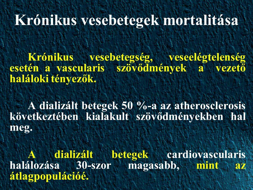 Krónikus vesebetegek mortalitása Krónikus vesebetegség, veseelégtelenség esetén a vascularis szövődmények a vezető haláloki tényezők.