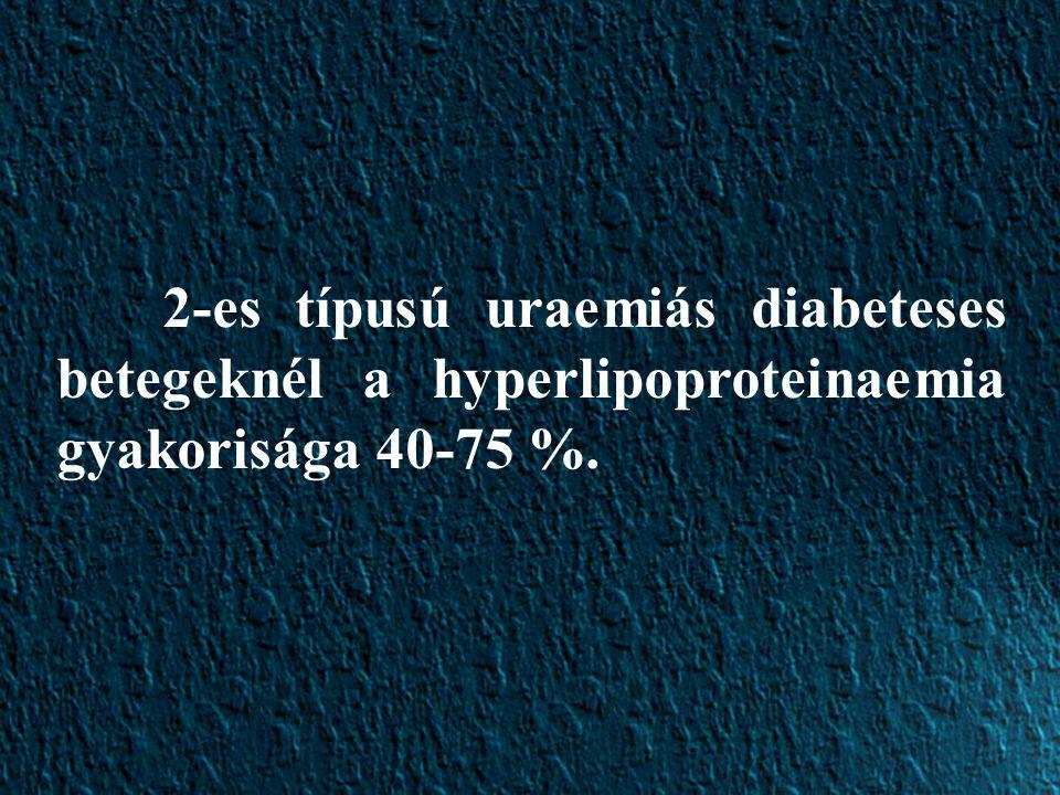 2-es típusú uraemiás diabeteses betegeknél a hyperlipoproteinaemia gyakorisága 40-75 %.