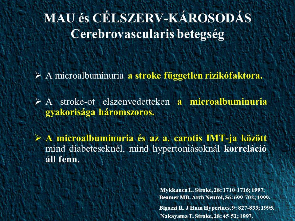 MAU és CÉLSZERV-KÁROSODÁS Cerebrovascularis betegség  A microalbuminuria a stroke független rizikófaktora.