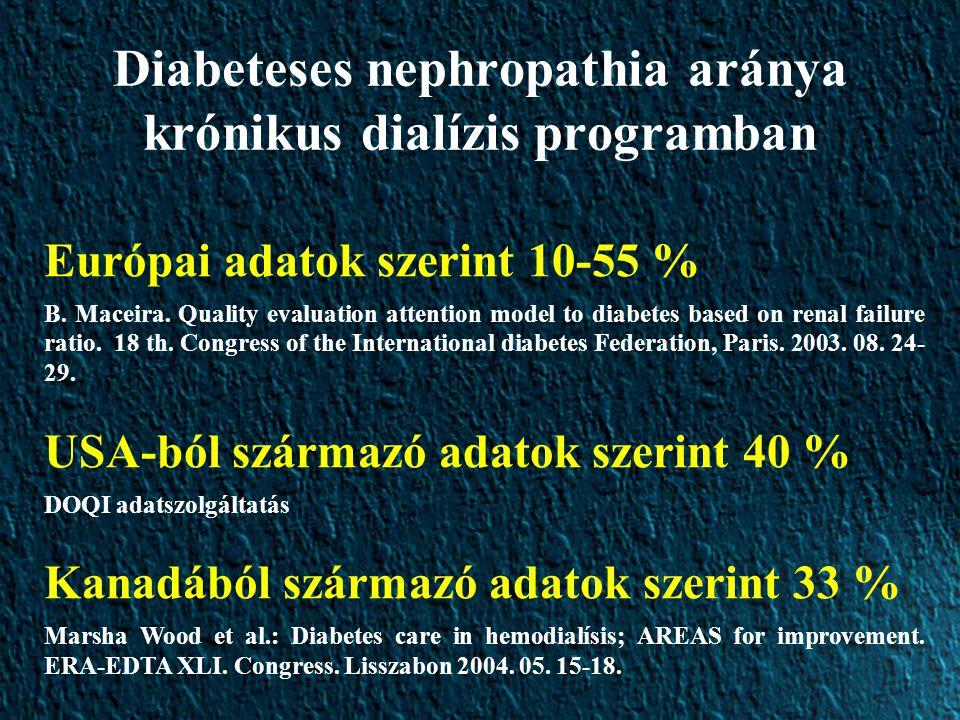 Diabeteses nephropathia aránya krónikus dialízis programban Európai adatok szerint 10-55 % B.