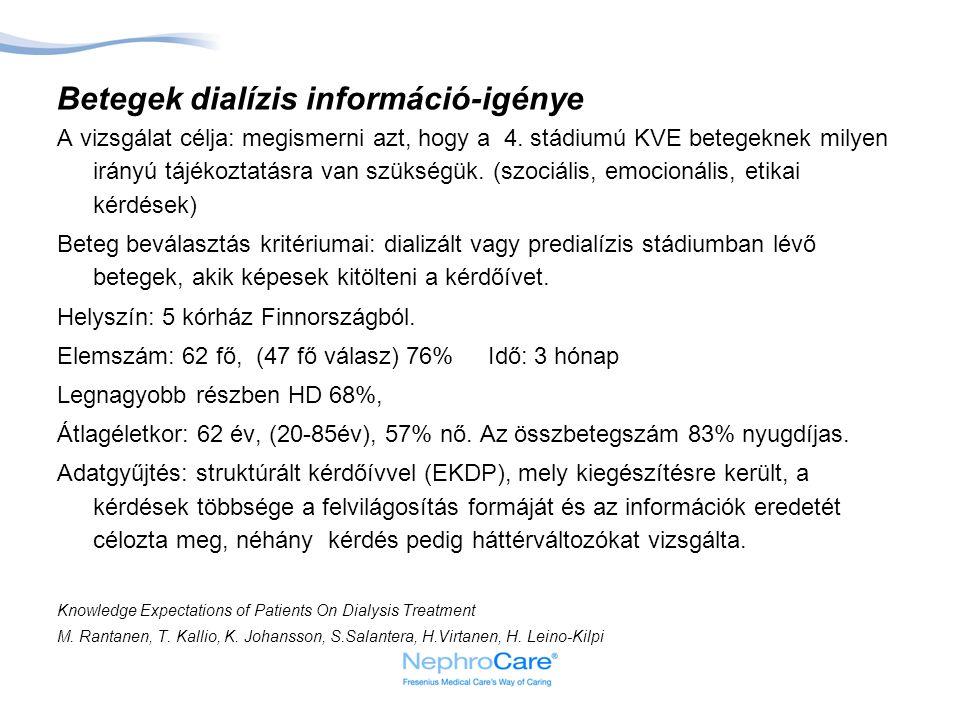 Betegek dialízis információ-igénye A vizsgálat célja: megismerni azt, hogy a 4.