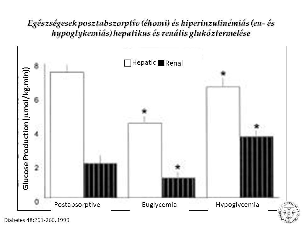 Éhomi glukózkiáramlás Overall rate [ ∼ μmol/(kg min)] 10 Hepatic contribution75–80% Glycogenolysis45–50% Gluconeogenesis25–30% Renal contribution20–25% Glycogenolysis0 Gluconeogenesis20–25% Diabet.
