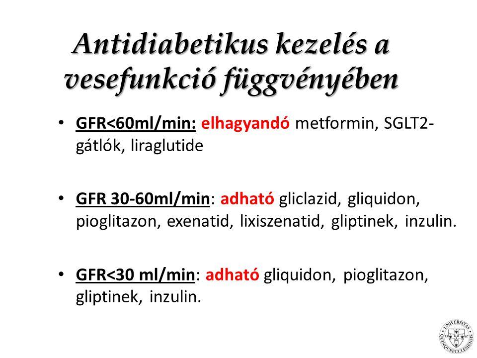 Összefoglalás A glukoneogenezis a vesében – Szerepe a hyperglykaemiában – Szerepe a hypoglykaemiában Antidiabetikus kezelés a GFR függvényében GFR és CKD ill.