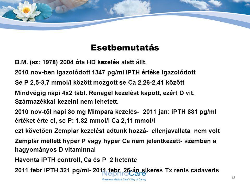 12 Esetbemutatás B.M. (sz: 1978) 2004 óta HD kezelés alatt állt. 2010 nov-ben igazolódott 1347 pg/ml iPTH értéke igazolódott Se P 2,5-3,7 mmol/l közöt