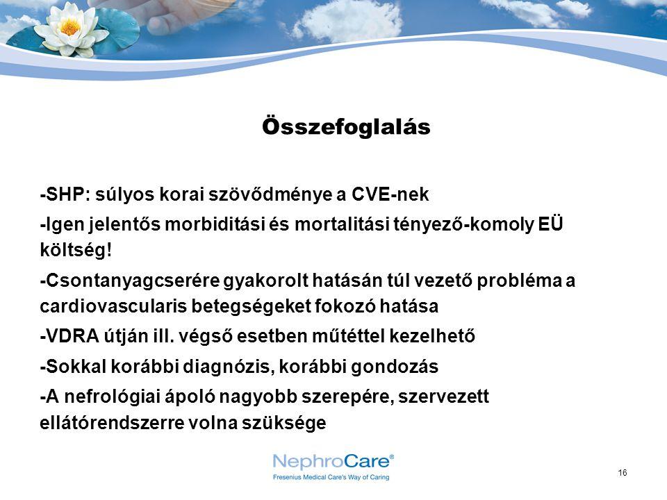 16 Összefoglalás -SHP: súlyos korai szövődménye a CVE-nek -Igen jelentős morbiditási és mortalitási tényező-komoly EÜ költség! -Csontanyagcserére gyak