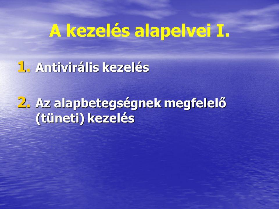 A kezelés alapelvei I. 1. Antivirális kezelés 2. Az alapbetegségnek megfelelő (tüneti) kezelés