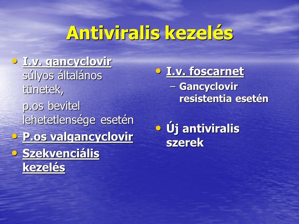 Antiviralis kezelés I.v. gancyclovir súlyos általános tünetek, I.v. gancyclovir súlyos általános tünetek, p.os bevitel lehetetlensége esetén P.os valg