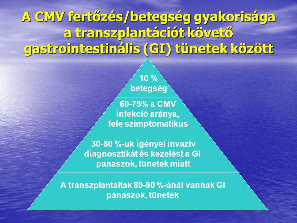 A CMV fertőzés/betegség gyakorisága a transzplantációt követő gastrointestinális (GI) tünetek között A transzplantáltak 80-90 %-ánál vannak GI panaszok, tünetek 30-80 %-uk igényel invaziv diagnosztikát és kezelést a GI panaszok, tünetek miatt 60-75% a CMV infekció aránya, fele szimptomatikus 10 % betegség